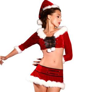 Sexy Christmas Costume, Red Velet Christmas Costume, Christmas Costume for Women, Cute Christmas Skirt, Miss Santa's Christmas Costume, #XT18375