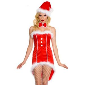 Sexy Christmas Costume, Red Velet Christmas Costume, Christmas Costume for Women, Cute Christmas Skirt, Miss Santa's Christmas Costume, #XT18376