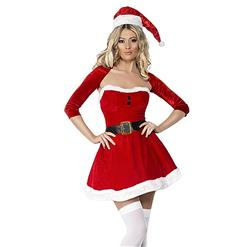 Sexy Christmas Costume, Red Velet Christmas Costume, Christmas Costume for Women, Cute Christmas Skirt, Miss Santa's Christmas Costume, #XT18373