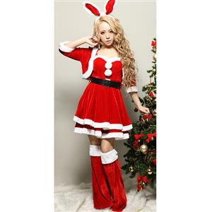 Sexy Christmas Costume, Red Velet Christmas Costume, Christmas Costume for Women, Cute Christmas Skirt, Miss Santa's Christmas Costume, #XT18366