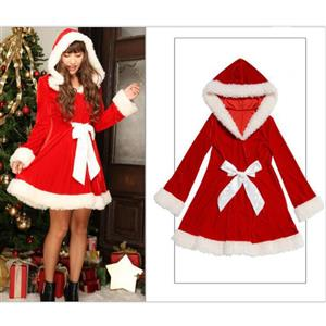 Classical Christmas Costume, Red Velet Christmas Costume, Christmas Costume for Women, Cute Christmas Mini Dress, Miss Santa Girl Christmas Costume, #XT18364