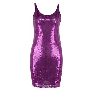 Sequin Bodycon Dress, Tank Top Dress for Women, Round Collar Dress, Sleeveless Bodycon Dress, Sexy Party Dress for Women, #N15260
