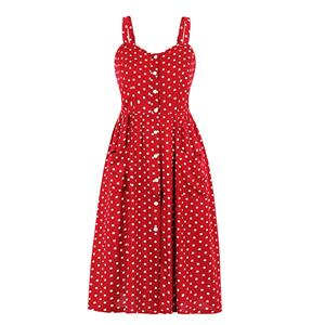 Fashion OL Dress, Fashion Spaghetti Straps Midi Dress, Sexy High Waist Dress, Cheap Party Dress Wholesale, Retro Dresses for Women 1960, Vintage Dresses 1950's, Polka Dots Summer Dress, Vintage High Waist Dress for Women, Simple Summer Dresses for Women, #N21001