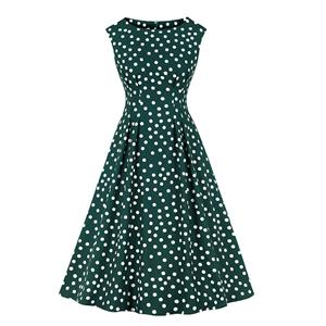 Sexy A-line Swing Dress, Retro Polka Dots Print Dresses for Women, Vintage Dresses 1950's, Plus Size Summer Dress, Vintage High Waist Dress for Women,Round Neck Swing Dresses for Women, Vintage High Waist Dresses for Women, #N20940