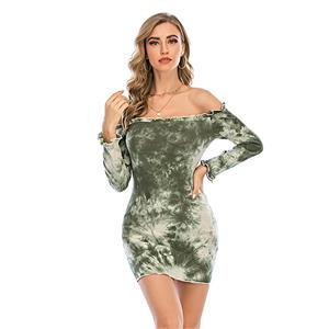 Sexy Dress for Women,Elegant Party Dress,Off The Shoulder Dress,Sexy Dresses for Women Cocktail Party,Long Sleeves High Waist Swing Dress,Tie-dye Gradient Printed Dress, #N20638