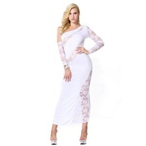 Sexy White Long Gown, Cheap White Clubwear Long Dress, Women's Sexy Lace Dress, Clubwear Party White Dress, One-shoulder Lace Long Dress, #N18600