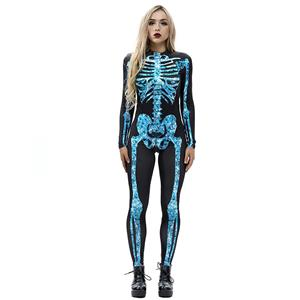 Horrible Skull Printed Jumpsuit, Halloween Skeleton High Neck Slim Fit Bodysuit, Halloween Bodycon Jumpsuit, Long Sleeve High Neck Jumpsuit, Halloween Skeleton Jumpsuit for Women, #N18233