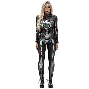 Horrible Skull Printed Jumpsuit, Halloween Skeleton High Neck Slim Fit Bodysuit, Halloween Bodycon Jumpsuit, Long Sleeve High Neck Jumpsuit, Halloween Skeleton Jumpsuit for Women, #N18237