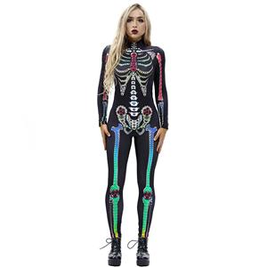 Horrible Skull Printed Jumpsuit, Halloween Skeleton High Neck Slim Fit Bodysuit, Halloween Bodycon Jumpsuit, Long Sleeve High Neck Jumpsuit, Halloween Skeleton Jumpsuit for Women, #N18238
