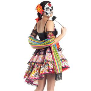 Evil Ghost Mini Dress Skull Role Play Adult Death Day Horror Costume N18679