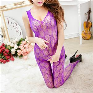 Sexy Sleeveless See-through Bodysuit Lingerie, Purple See-through Crotchless Bodystocking, Sleeveless Mesh Star Pattern Bodystocking Lingerie, Star Pattern See-through Mesh Bodystocking, See-through Mesh Open Crotch Bodystocking, #BS17066