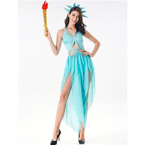 Blue Goddess Costume, Statue of Liberty Halloween Costume, Grecian Goddess Adult Costume, Statue of Liberty Cosplay Costume, Statue of Liberty Adult Costume, #N17078
