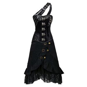 Steampunk Corset Skirt Set, Women's Corset and Skirt Set, Corset and Petticoat for Women, Vintage Corset Skirt Set, Victorian Corset&Skirt Set, Gothic Outfit for Women,#N12465