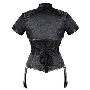 Steampunk Black High Neck Steel Boned Outerwear Corset With Short Sleeve Jacket N20890