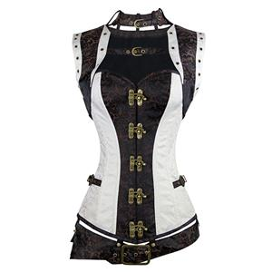 SteamPunk Steel Boned Corset for Women, Gothic Retro Overbust Corset,Outerwear Overbust Steel Boned Corset,Brown Corset Steampunk,Plus Size Corset,Halloween costumes, #N11349