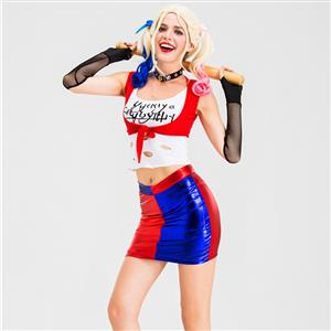 Plus Size Suicide Harley Halloween Costume, Clown Cosplay Costume, Batman Harley Quinn Costume Women, Suicide Squad Costume, Evil Clown Halloween Costume, #N19879
