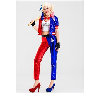 4pcs Supervillain Harley Suicide Red and Blue Halloween Party Anime Cosplay Costume N19880