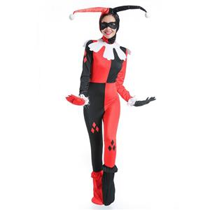 Women's Jester Costume, Clown Cosplay Costume, Batman Harley Quinn Costume Women, Misfit Hipster Costume, Suicide Squad Costume, #N14757