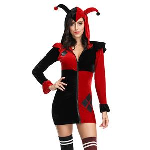 Women's Jester Costume, Clown Cosplay Costume, Batman Harley Quinn Costume Women, Misfit Hipster Costume, Suicide Squad Costume, Evil Clown Halloween Costume, #N19124