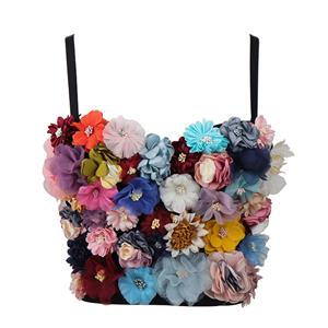Colorful 3D Flower Bra Top, B Cup Bustier Bra, B Cup Floral Bustier Bra for Women, Sexy Simulation Flower Clubwear Bra, #N21017