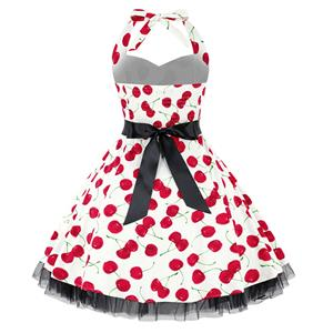 Vintage Sweetheart Neckline Halter Backless Cherry Print Casual Swing Mini Dress N14853