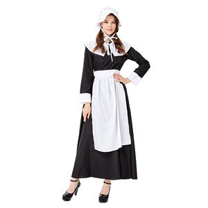 Women's Adult Colonial Costumes, Traditional House Maid Costume, French Maide Costume, 4 Piece Maiden Cosplay Costume, Black and White Maid Costume, Halloween Pilgrim Colonial Cosplay Adult Costume, #N19429
