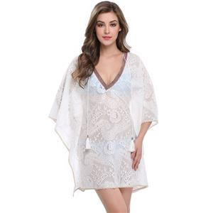 Women's Floral Lace Cover Ups, Tassel Chiffon Beachwear, Sexy Lace Cover Ups, Beach Bikini Swimsuit Cover-ups, Cover Ups, #N14147