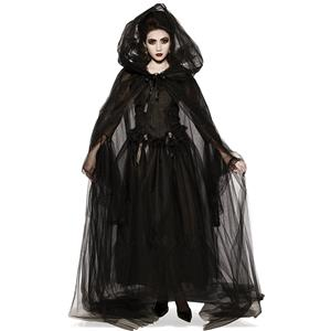 Black Ghost Bride Role Play Costume, Classical Adult Vampire Halloween Costume, Deluxe Ghost Bride Dress Costume, Vampire Bride Masquerade Costume, Ghost Bride Halloween Adult Cosplay Costume, #N18201