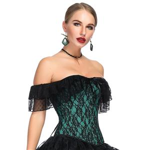 Victorian Gothic Satin Off Shoulder Floral Lace Waist Cincher Plastic Boned Overbust Corset N18714