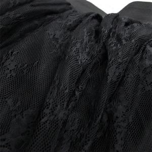 Victorian Gothic Multi-layered Sheer Mesh Outer Lace Lining Elastic High-waisted Long Skirt N19424