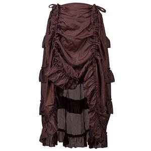 Steampunk Skirt, Gothic Cosplay Skirt, Halloween Costume Skirt, Pirate Costume, Elastic Skirt, Short Front Ruffle Skirt, #N12982