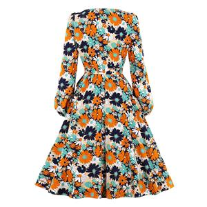 Vintage Round Neck Long Sleeve High Waist Lacing Daisy Print Autumn Swing Dress N20773