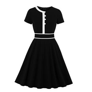 Fashion Casual OL Dress, Cute Summer Swing Dress, Retro Dresses for Women 1960, Vintage Dresses 1950's, Plus Size Summer Dress, Vintage Lapel OL Dress, Vintage Office Lady Dresses for Women, Vintage Spring Dresses for Women, #N19570