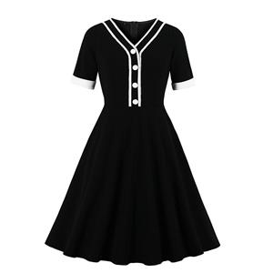 Fashion Casual OL Dress, Cute Summer Swing Dress, Retro Dresses for Women 1960, Vintage Dresses 1950's, Plus Size Summer Dress, Vintage Lapel OL Dress, Vintage Office Lady Dresses for Women, Vintage Spring Dresses for Women, #N19571