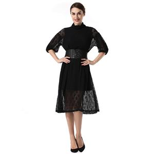 Sexy Sheer Lace Dresses, Women's Cocktail Party Dress, Sexy Little Black Evening Dresses, Black Floral Lace High Waist Cocktail Party Dress, Bishop Sleeves Ceremony Dress, Vintage High Neck Midi Dress, #N18767
