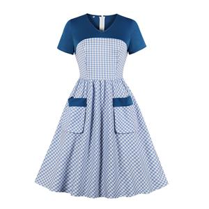 Fashion Casual Plaid Swing Dress, Sexy Party Dress, Retro Party Dresses for Women 1960, Vintage Dresses 1950's, Plus Size Dress, Vintage Short Sleeve OL Dress, Vintage Dresses for Women, Vintage V-neck Dresses for Women, #N19569