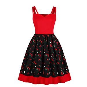 Cute Cherry Print A-line Swing Dress, Retro Cheery Print Dresses for Women 1960, Vintage Dresses 1950's, Plus Size Summer Dress, Vintage Cherry High Waist Dress for Women, Simple Spaghetti Straps Dresses for Women, Vintage Spring Dresses for Women, #N18758