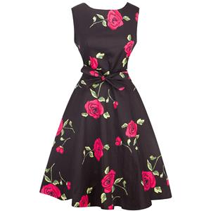 Retro Dresses for Women 1960, Vintage Dresses 1950's, Vintage Dress for Women, Floral Print Dress, Cheap Party Dress, #N12575
