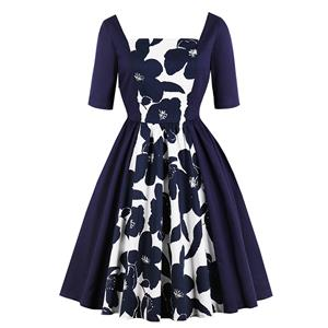Vintage Floral Print Dresses for Women, Sexy Dresses for Women Cocktail Party, Vintage High Waist Dress, Short Sleves Swing Daily Dress, Vintage Floral Print Swing Dress, #N18213