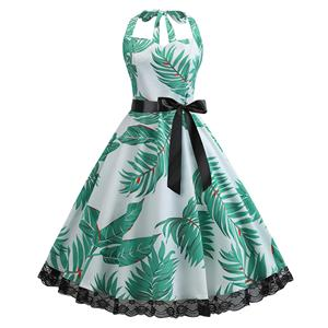 Cute Summertime Leaves Print A-line Swing Dress, Retro Backless Dresses for Women 1960, Vintage Dresses 1950's, Plus Size Backless Summer Dress, Vintage High Waist Dress for Women, Simple Halter Dresses for Women, Vintage Spring Dresses for Women, #N18827