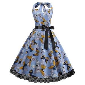 Cute Summertime Butterfly Print A-line Swing Dress, Retro Backless Dresses for Women 1960, Vintage Dresses 1950's, Plus Size Halter Summer Dress, Vintage High Waist Dress for Women, Simple Butterfly Print Dresses for Women, Vintage Spring Dresses for Women, #N18829
