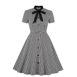 Vintage Houndstooth Dress, Fashion Houndstooth High Waist A-line Swing Dress, Retro Houndstooth Dresses for Women 1960, Vintage Dresses 1950's, Plus Size Summer Dress, Vintage High Waist Dress for Women, Simple Dresses for Women, Vintage Spring Dresses for Women, #N18906