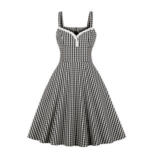 Vintage Grid Dress, Fashion Checkered High Waist A-line Swing Dress, Retro Plaid Dresses for Women 1960, Vintage Dresses 1950's, Plus Size Summer Dress, Vintage High Waist Dress for Women, Simple Dresses for Women, Vintage Spring Dresses for Women, #N18962