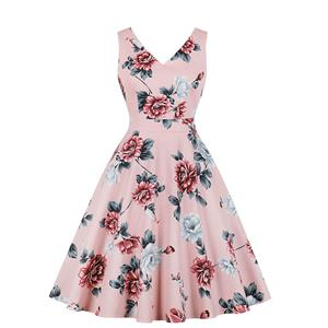Vintage Floral Print Dress, Fashion Floral Pattern High Waist A-line Swing Dress, Retro Dresses for Women 1960, Vintage Dresses 1950's, Plus Size Summer Dress, Vintage High Waist Dress for Women, Simple Dresses for Women, Vintage Spring Dresses for Women, #N18964
