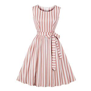 Retro Vertical Striped Dress, Fashion Vertical Striped High Waist A-line Swing Dress, Retro Dresses for Women 1960, Vintage Dresses 1950's, Plus Size Summer Dress, Vintage High Waist Dress for Women, Simple Dresses for Women, Vintage Spring Dresses for Women, #N18979