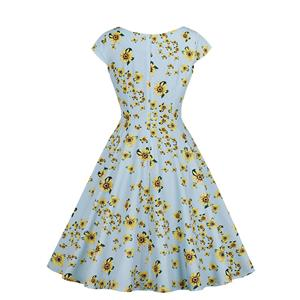 Retro Rockabilly Sunflower Printed V Collar Cap Sleeves Frock Midi Swing Dress N18991