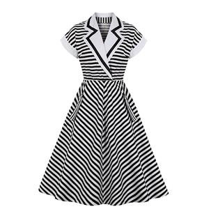 Vintage Lapel Stripes Dress, Fashion Stripes High Waist A-line Swing Dress, Retro Stripes Dresses for Women 1960, Vintage Dresses 1950's, Plus Size Summer Dress, Vintage High Waist Dress for Women, Simple Dresses for Women, Vintage Spring Dresses for Women, #N20979