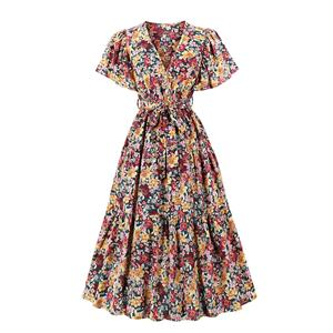 Cute Printed A-line Swing Dress, Retro Printed Dresses for Women 1960, Vintage Floral Printed Dresses 1950's, Plus Size Summer Dress, Vintage High Waist Dress for Women, Simple Print Dresses for Women, Vintage Spring Dresses for Women, #N20828