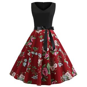Vintage V Neck Black Bodice and Peony Pattern Splicing Sleeveless Summer Swing Dress N18826