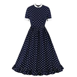 Cute Swing Dress, Retro Dresses for Women 1960, Vintage Dresses 1950's, Plus Size Summer Dress, Vintage Dress for Women, Sexy Polka Dots Swing Dresses for Women, Vintage Summer Dresses for Women, #N20980